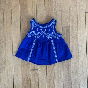 Blue and white embroidered top for baby sz 3-6M